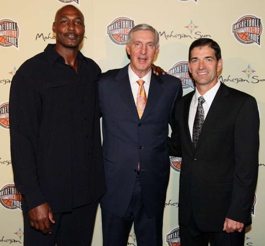 Jazz legends Karl Malone, Jerry Sloan and John Stockton -- Rockets fans can rejoice at the fact that these guys have long retired and are no longer in the way of a title. Photo: Nathaniel S. Butler, NBAE Via Getty Images