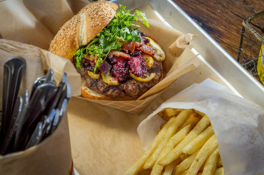 The Burger of the Week with Blackberries and Lemon with a side of Fries at Victory Burger in Oakland. Photo: John Storey, Special To The Chronicle