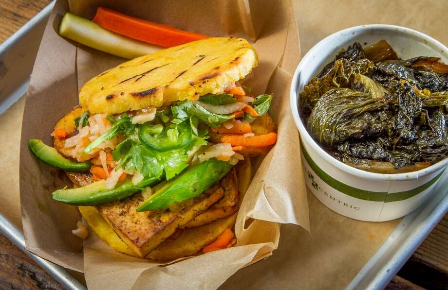 The Veggie Arepa with a side of Braised Smoky Greens at Victory Burger in Oakland. Photo: John Storey, Special To The Chronicle