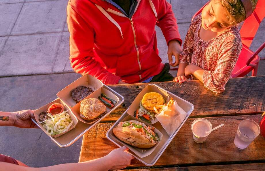 Burgers being served at Victory Burger in Oakland. Photo: John Storey, Special To The Chronicle