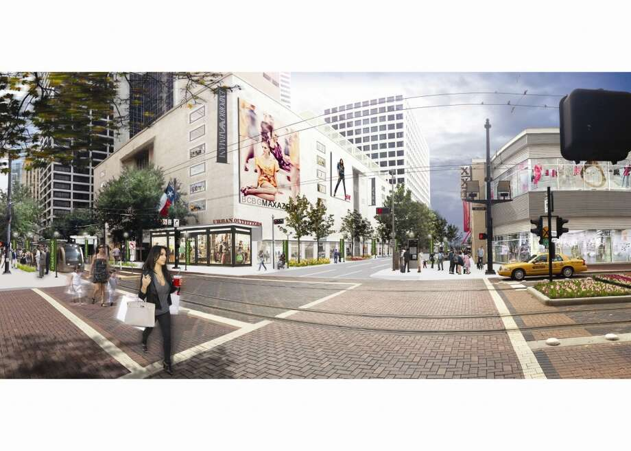 This rendering shows GreenStreet on the right and the Sakowitz building on the left with new tenants.