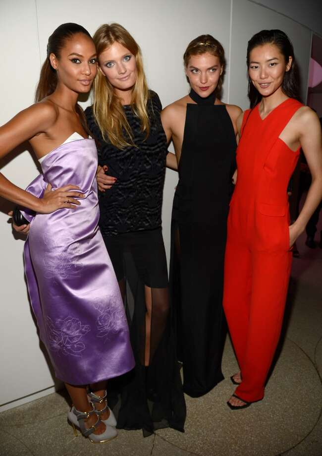 "(L-R) Joan Smalls, Constance Jablonski, Arizona Muse, and Liu Wen attend the Estee Lauder ""Modern Muse"" Fragrance Launch Party at the Guggenheim Museum on September 12, 2013 in New York City.  (Photo by Kevin Mazur/Getty Images for Estee Lauder) Photo: Kevin Mazur"