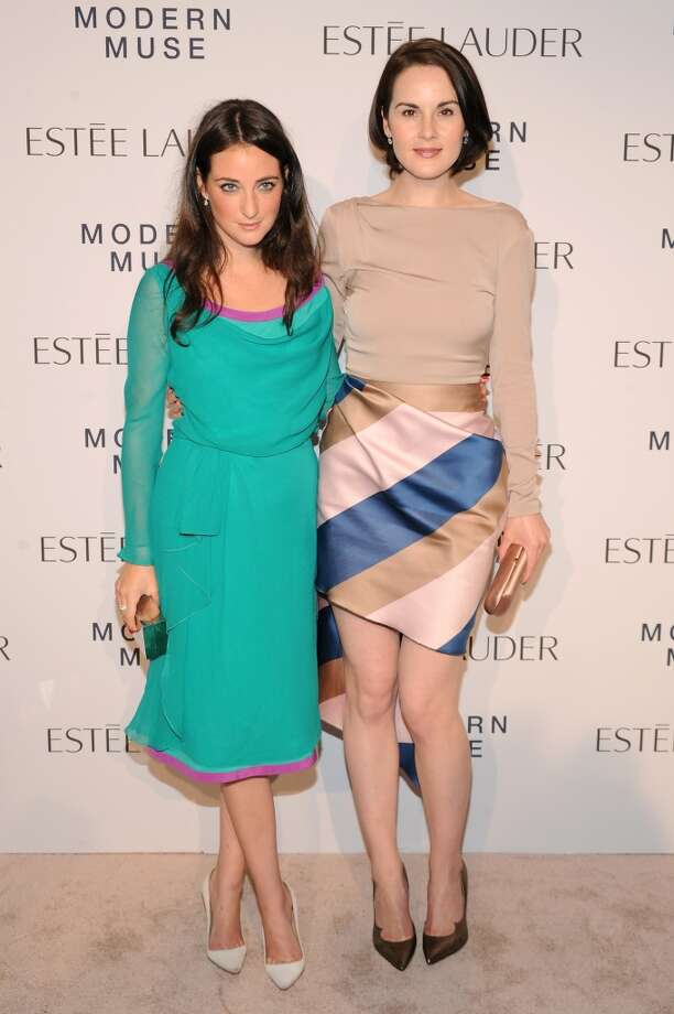 "Actress Michelle Dockery (R) and stylist Micaela Erlanger attend the Estee Lauder ""Modern Muse"" Fragrance Launch Party at the Guggenheim Museum on September 12, 2013 in New York City.  (Photo by Bryan Bedder/Getty Images for Estee Lauder) Photo: Bryan Bedder"