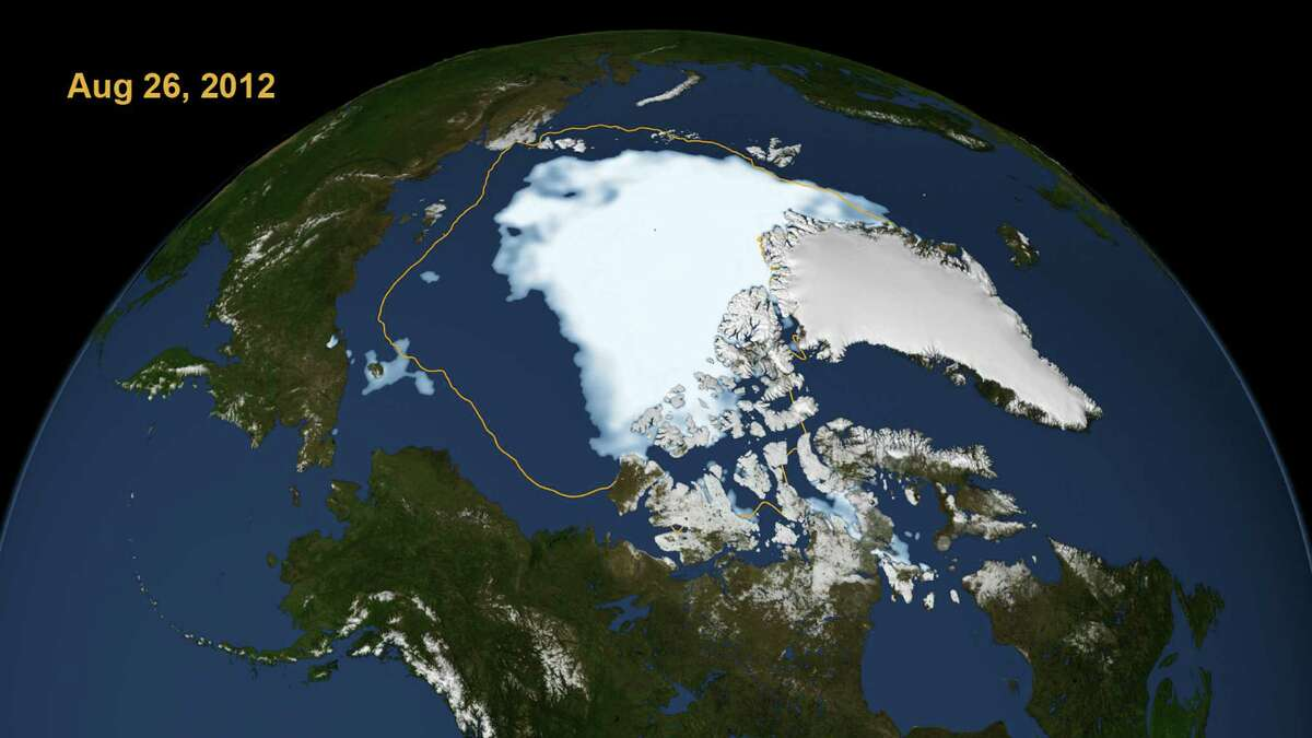 In an undated handout image, the Artic sea ice area (in white) as of Aug. 26, 2012. With weeks left to go in the melting season, ice in the Arctic has fallen to the lowest level on record, scientists say, and they are investigating whether the decline is contributing to extreme weather farther south. (NASA via The New York Times) -- EDITORIAL USE ONLY --
