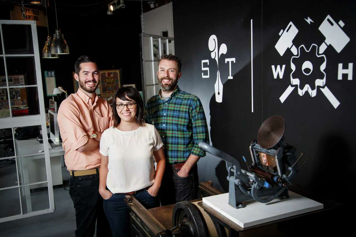 Joe Ross, from left, Jennifer Blanco and John Earles combine fresh ideas with old-fashioned letterpress techniques at Spindletop Design and Workhorse Printmakers.