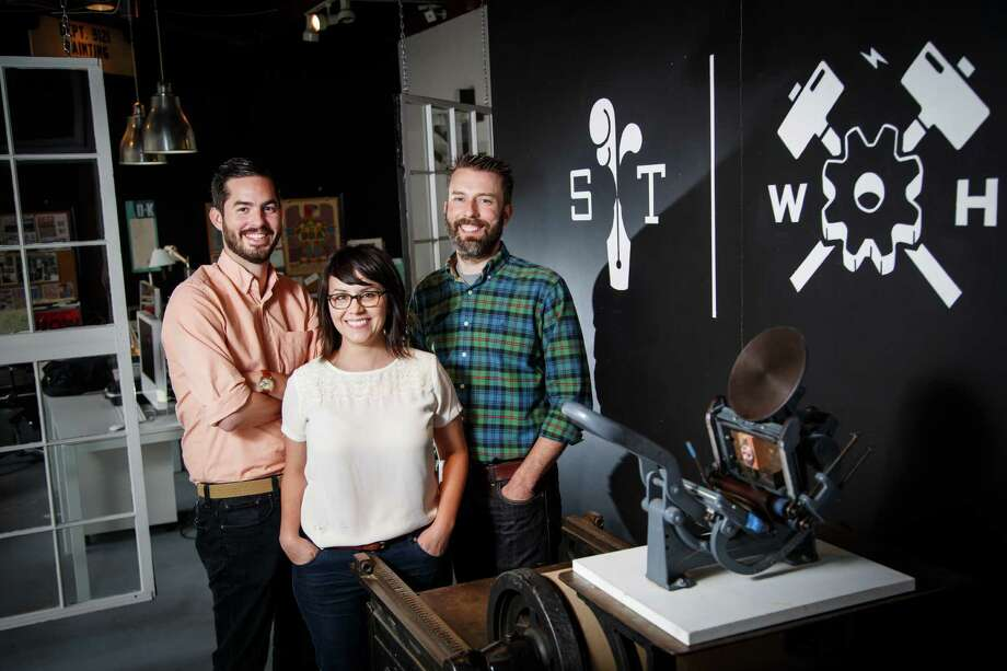 Joe Ross, from left, Jennifer Blanco and John Earles combine fresh ideas with old-fashioned letterpress techniques at Spindletop Design and Workhorse Printmakers. Photo: Michael Paulsen, Staff / © 2013 Houston Chronicle