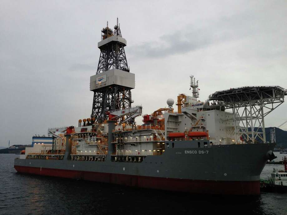 The ENSCO DS-7, leaving the shipyard, is one of the rigs making ultra-deepwater exploration - and more jobs - possible for Ensco.