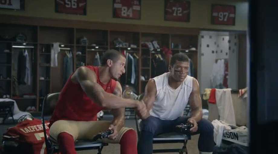 "On the eyebrow bet with S.F. QB Colin Kaepernick:  ""Yeah, it's just a commercial. Just having fun, just joking around and everything. So, it's not real."" Photo: Ad Framegrab, EA Sports"