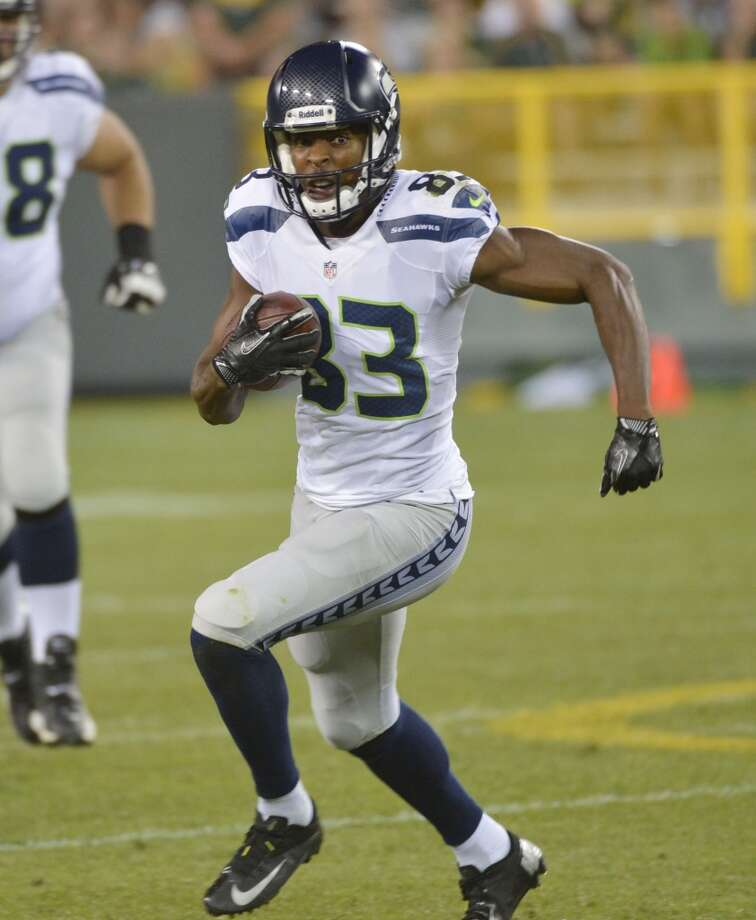 """On the diversity of talent among the receiving corps (continued):""""You got Doug Baldwin, who has cat-like reflexes as well -- just can move really well in the slot. He has great vertical jump and leaping ability; he can go up and get the football too. So just watching him has really impressed me over the past year -- just getting to know Doug and playing with him.Over the last year, if you really think about it, for the first half of the (2012) season I didn't really  have him on a weekly basis. So, over the past year I've really gotten to work with him in the offseason, and obviously the beginning of this season. So we just have to continue that relationship there.  """"Stephen Williams (pictured) is a guy that can run by people and can also break in front of people's faces and catch the football and get a huge first down for us. Like you guys saw him in the Packers (preseason) game, on that little short little screen, almost -- it wasn't really a screen but he was coming underneath, a little shallow route. So, he can run the ball really well, too, and he works at that every day at practice. I think that's the thing that impressed me about Stephen Williams, is every day in practice when he catches the football he's trying to to take it to the house. That's what I love about him. That's how everyone else is, all of our receivers."""" Photo: Tom Dahlin, Getty Images"""