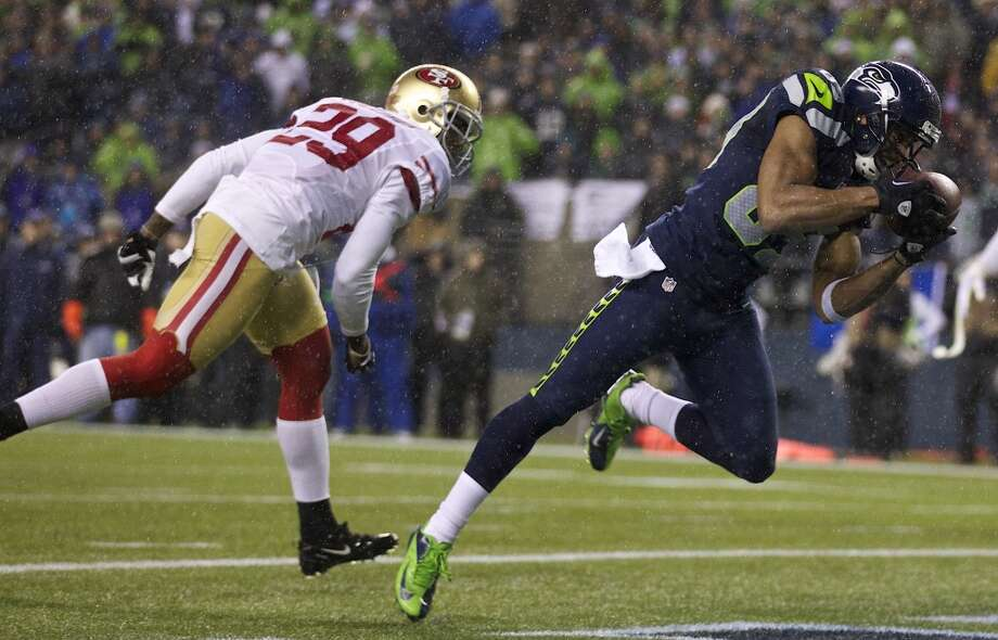 """On Doug Baldwin's clutch play on third downs:""""He's very good at reading defenses. He thinks he's the quarterback sometimes. Doug is just so intelligent. He's a very smart kid -- knows everything he's trying to do and why he's trying to get there. He's just got a great feel. It's almost like he is a (basketball) point guard. You know, point guards just know where to go, know where to move certain people and set up certain people to get open, or to set somebody else to get open. And so that's what he does really well."""" Photo: Stephen Brashear, Getty Images"""