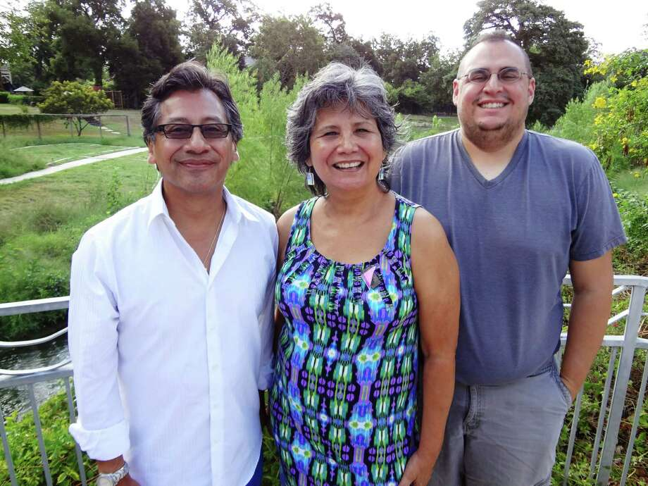Project designer Kaye Cruz, writer Barbara Renaud Gonzalez and producer/designer Joey Lopez were part of a team of artists who created a  26-page enhanced e-book on the life of voting rights activist Willie Velasquez. Photo: Photo By Steve Bennett / San Antonio Express-News