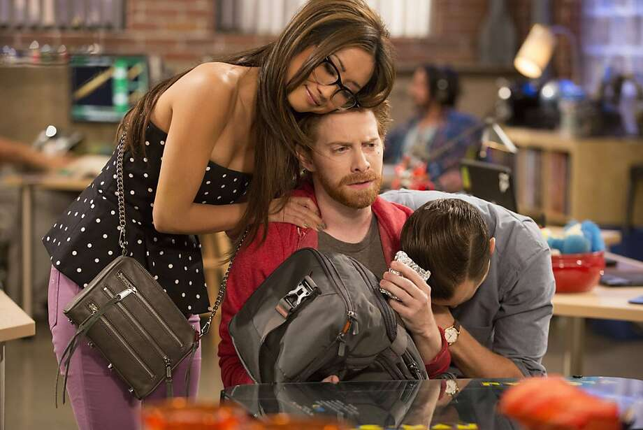"Brenda Song (left) stars with Seth Green and Giovanni Ribisi, who play hot-shot game developers, in the Fox sitcom ""Dads."" Photo: Jennifer Clasen, Fox"