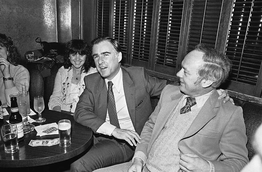 Citizen Jerry Brown Jr. celebrates with pop singer Linda Ronstadt, left,and other friends in a Sacramento cocktail lounge shortly after stepping down as governor of California at midnight, Jan. 3, 1983. (AP Photo/Walt Zeboski) Photo: Walt Zeboski, AP