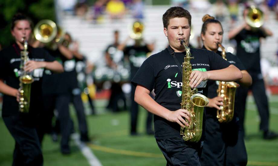 The halftime show during Friday's football game at Norwalk High School on September 13, 2013. Photo: Lindsay Perry / Stamford Advocate