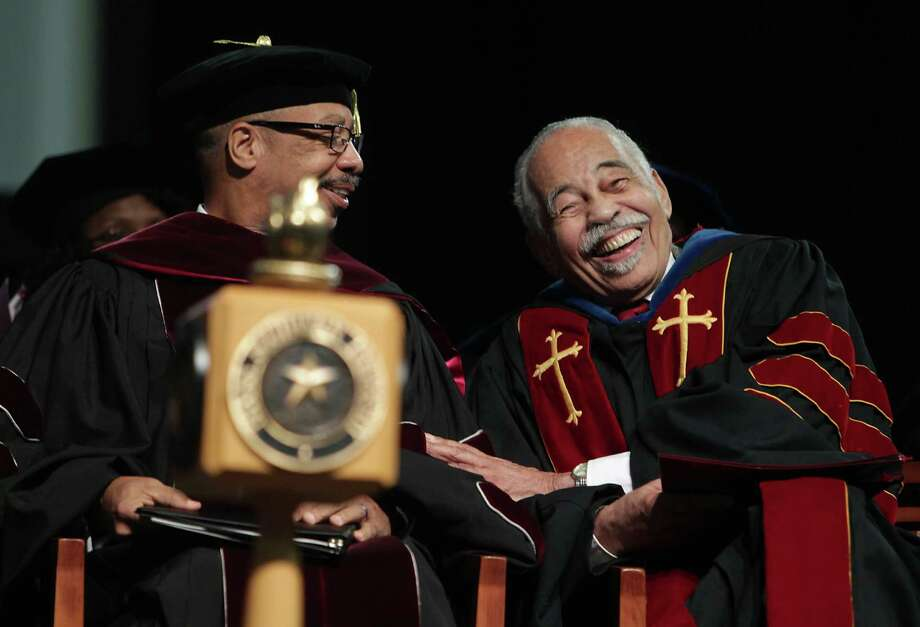 Texas Southern University President John M. Rudley, PhD. left, and Thomas F.  Freeman Ph.D during Texas Southern University Founders Day celebration honoring debate coach Thomas F. Freeman for 64 years of service Friday, Sept. 13, 2013, in Houston. Freeman founded the university's acclaimed debate team. Photo: James Nielsen, Houston Chronicle / © 2013  Houston Chronicle