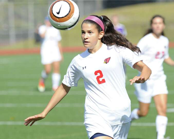 Sarah Rodriguez (# 2) of Greenwich during the girls varsity soccer match between Greenwich High S