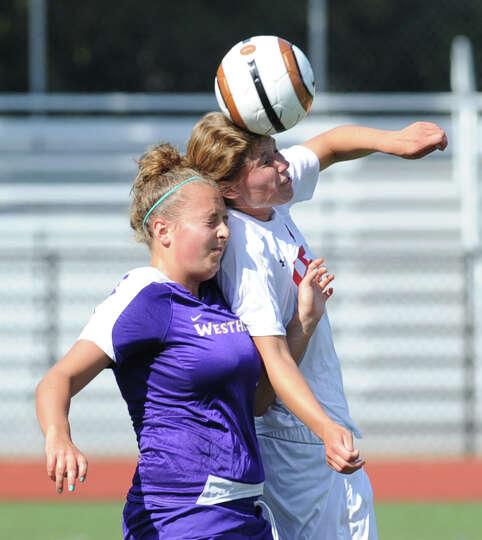 Girls varsity soccer match between Greenwich High School and Westhill High School at Greenwich, Frid