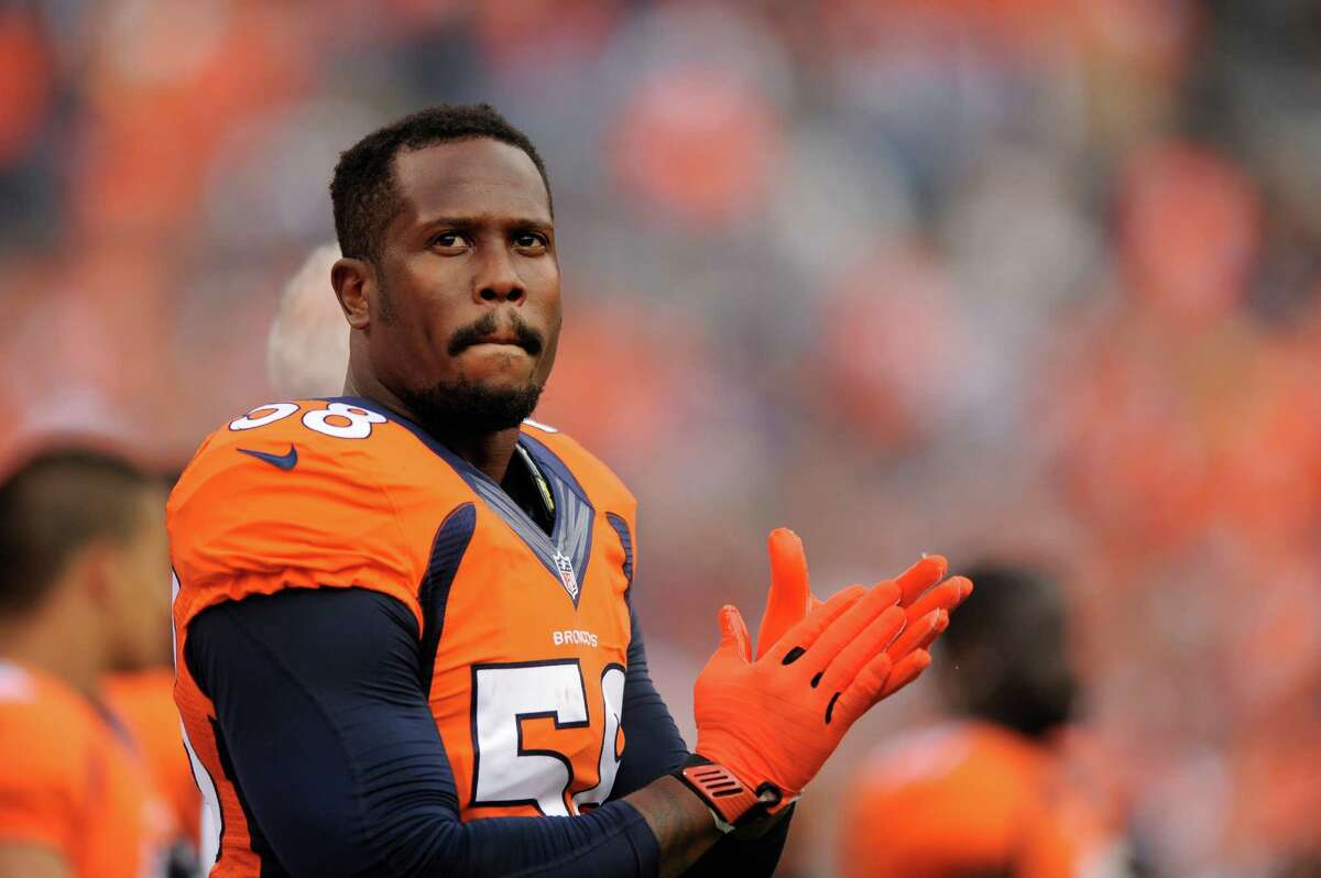 Denver Broncos outside linebacker Von Miller looks on during an NFL pre-season football game against the St. Louis Rams Saturday, Aug. 24, 2013, in Denver. (AP Photo/Jack Dempsey)
