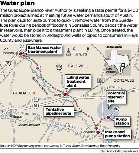 Water planThe Guadalupe-Blanco River Authority is seeking a state permit for a $400 million project aimed at meeting future water demands south of Austin. The plan calls for large pumps to quickly remove water from the Guadalupe River during periods of flooding in Gonzales County, deposit the water in reservoirs, then pipe it to a treatment plant in Luling. Once treated, the water would be stored in underground wells or piped to consumers in Hays County and elsewhere. Photo: Harry Thomas