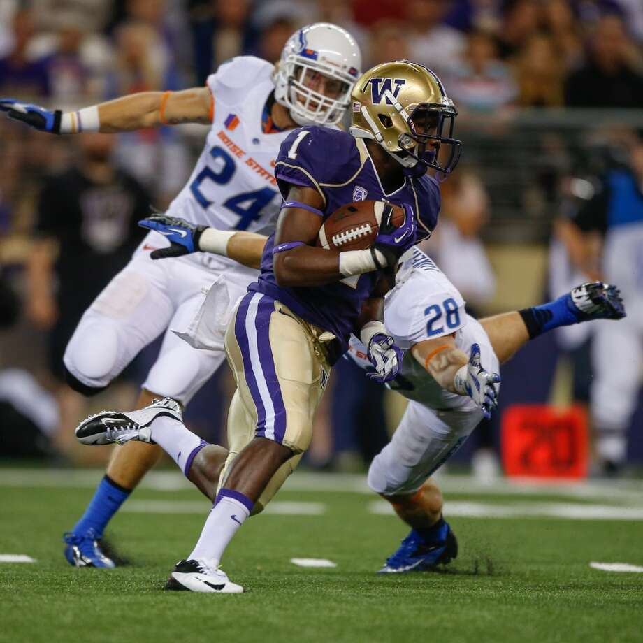 5. What about the letdown factor?  There was so much built-in hype for the Boise State game. Reopening Husky Stadium in a nationally televised game against a top-25 opponent was a dramatic way to start the season, and the Huskies did well to ignore the hoopla and get the win.  But could there be potential for a lackluster follow-up effort in a game on the road against a lesser opponent -- and make no mistake, that's what Illinois is at this point -- especially for young players like freshman receiver John Ross (above). Maybe. But a large, hostile crowd in an NFL venue should help the Dawgs keep their edge.  The Fighting Illini have already proven they're better than many anticipated. If the Huskies are to win this game, they cannot afford to take Illinois lightly. Photo: Otto Greule Jr, Getty Images