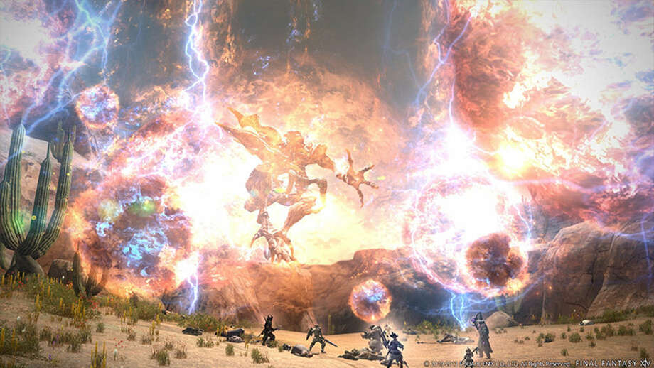"A massive combat scene is played out in ""Final Fantasy XIV: Realm Reborn."" Photo: Images Courtesy Of Square Enix"