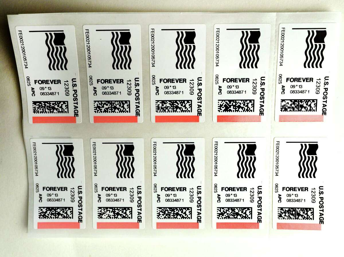Forever stamps that were printed Friday afternoon, Sept. 13, 2013, by a postage sales machine at the Post Office in Niskayuna, N.Y. (Skip Dickstein / Times Union)
