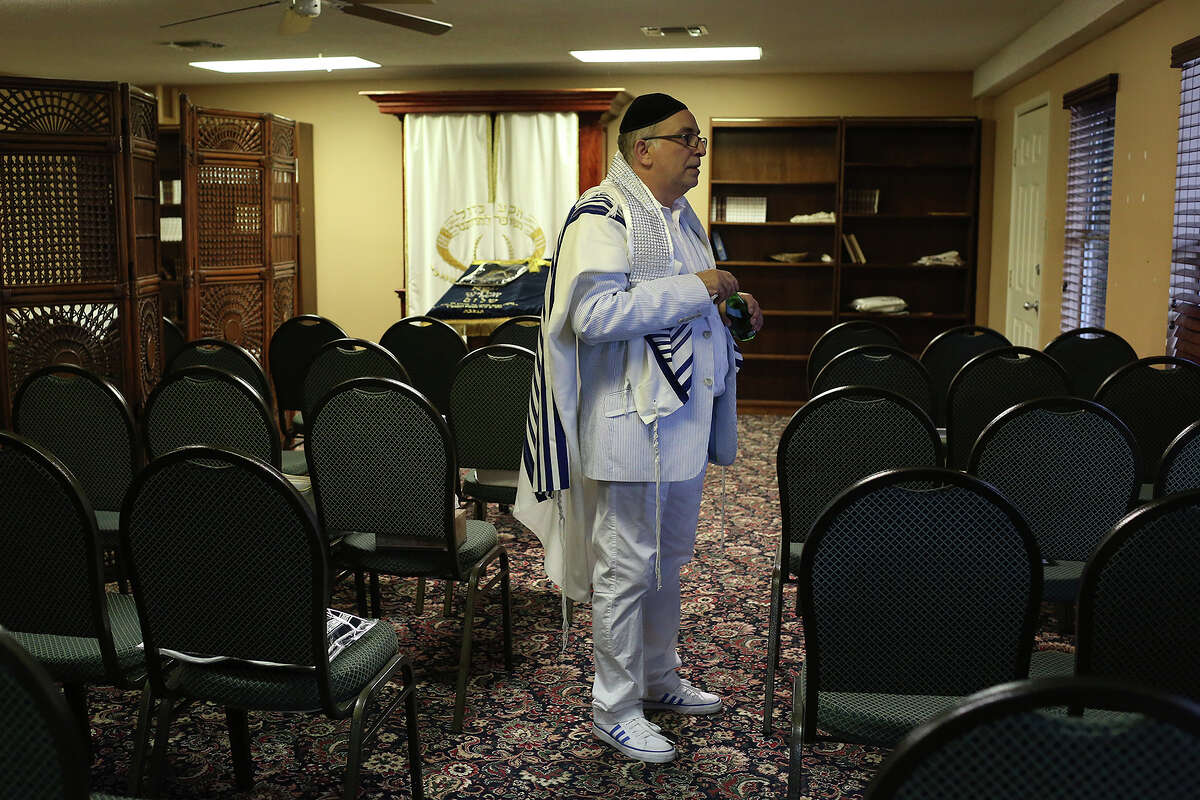 Cantor Isaac Elancry, of Hollywood, FL, waits for Sephardic Jews to arrive to lead a Yom Kippur service for them on the grounds of the Chabad Center for Jewish Life and Learning in San Antonio on Friday, September 13, 2013.