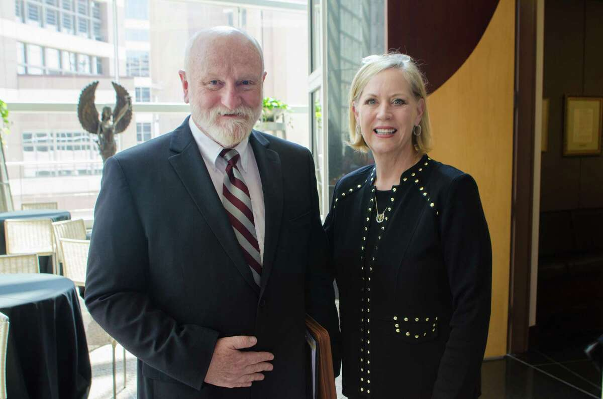 Dr. Glen A. Laine and Dr. Eleanor M. Green after the announcement of a research collaborative with Texas Heart Institute and and Texas A&M University in Houston on Friday, 13 September, 2013 at the Texas Heart institute in Houston TX