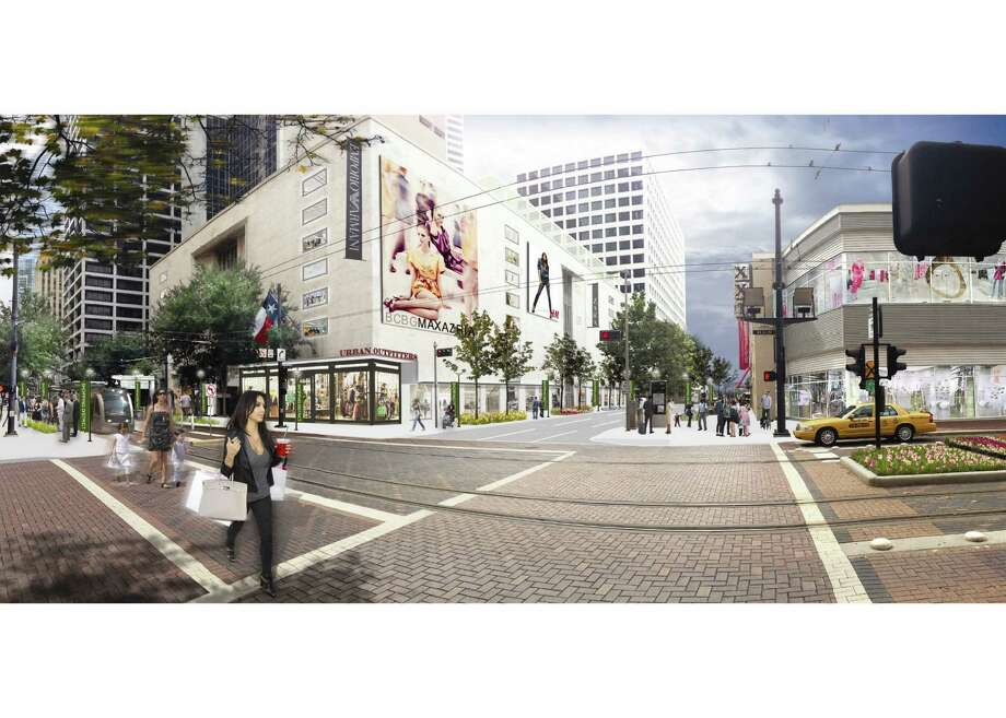 The creation of a downtown shopping district centered on Dallas Street, shown in this rendering, would depend in part on tax breaks for property owners. Photo: Courtesy Of Downtown District