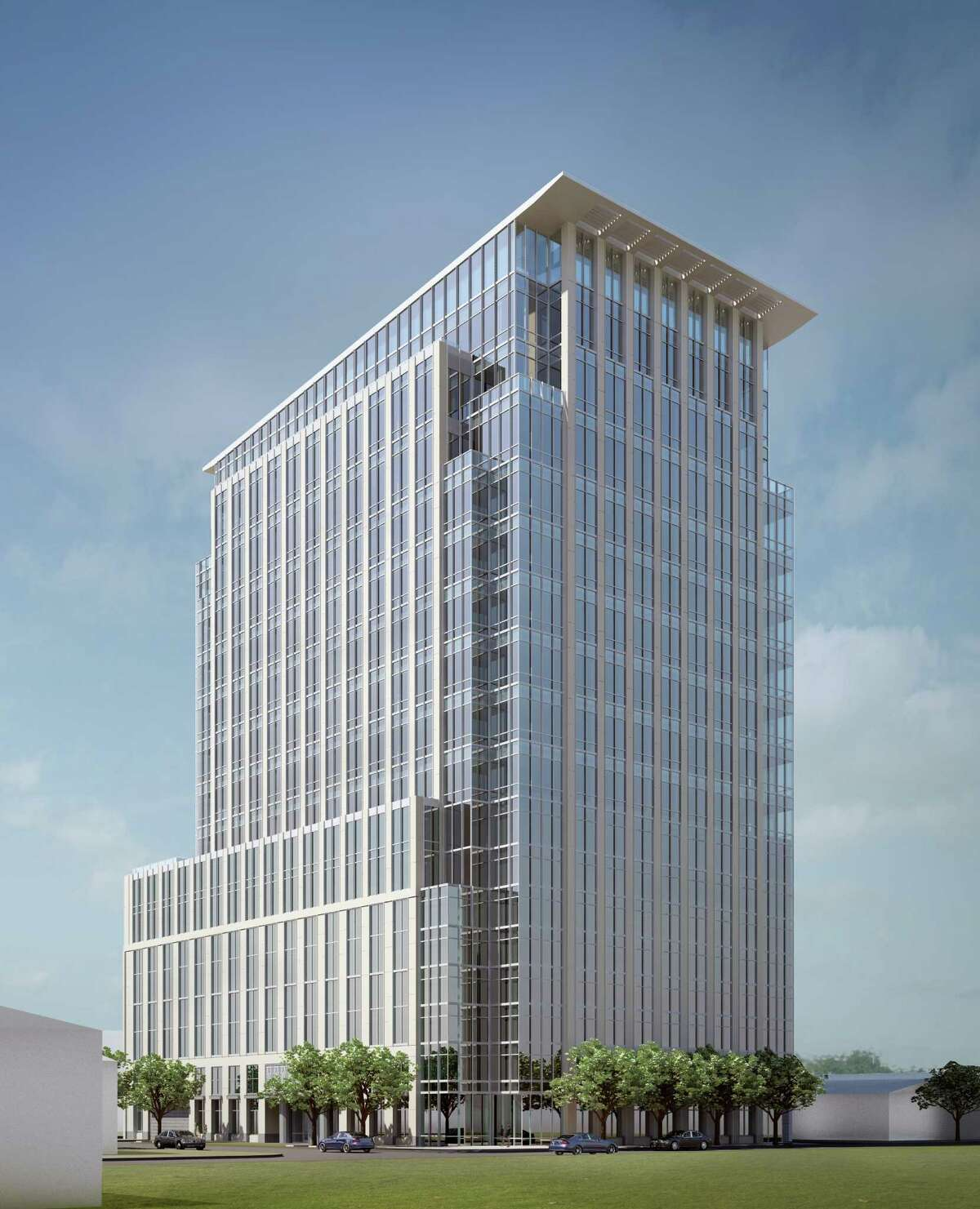 The Hines office tower to be built at 2229 San Felipe, shown in a rendering, is to be 17 stories tall, with eight floors for parking.