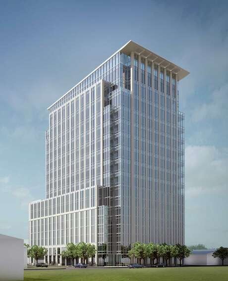 The Hines office tower to be built at 2229 San Felipe, shown in a rendering, is to be 17 stories tall, with eight floors for parking. Photo: Hines