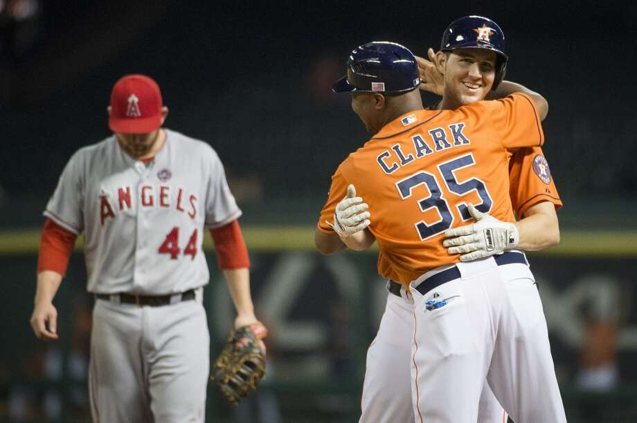 Sept. 13: Astros 9, Angels 7Cody Clark, a 32-year-old, had his first major-league hit for Houston against Los Angeles.  Record: 51-96. Photo: Smiley N. Pool, Houston Chronicle