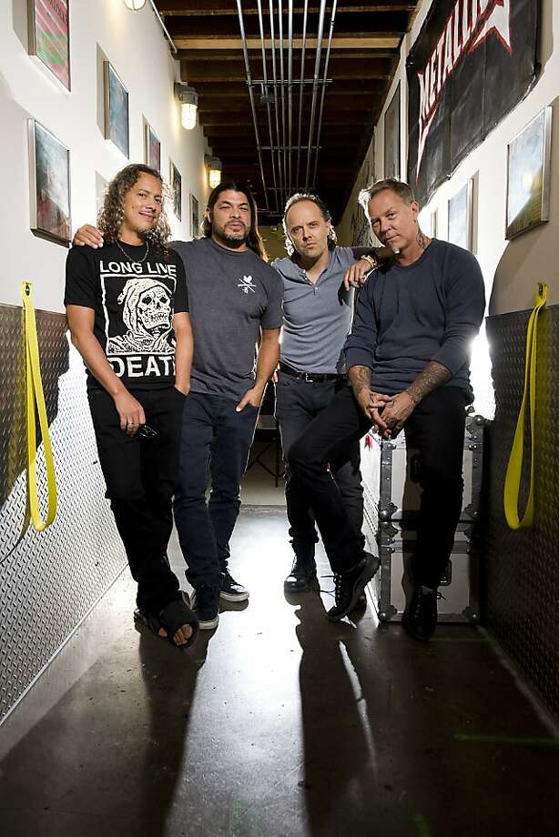 Metallica members (from left) Kirk Hammett, Robert Trujillo, Lars Ulrich and James Hetfield - at their practice space in San Rafael - have wanted to make an Imax film for a long time. Photo: Michael Short, Special To The Chronicle