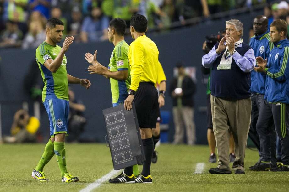 Lamar Neagle, left, is put back on the bench during the second half of a game Friday, September 13, 2013, at CenturyLink Field in Seattle. The Sounders beat Real Salt Lake 2-0. With over 52,000 tickets distributed, the Sounders put their 12-game home unbeaten streak on the line during the face-off with Real Salt Lake. (Jordan Stead, seattlepi.com) Photo: JORDAN STEAD, SEATTLEPI.COM