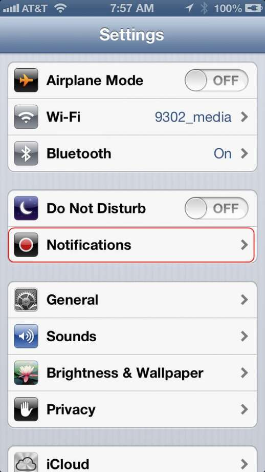 Enter Settings on your iPhone, and tap the Notifications button.
