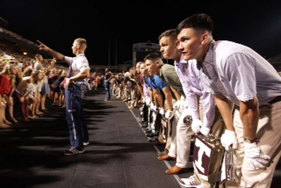 Aggies take part in the Midnight Yell the night before Texas A&M plays Alabama in College Station. Photo: Karen Warren, Houston Chronicle