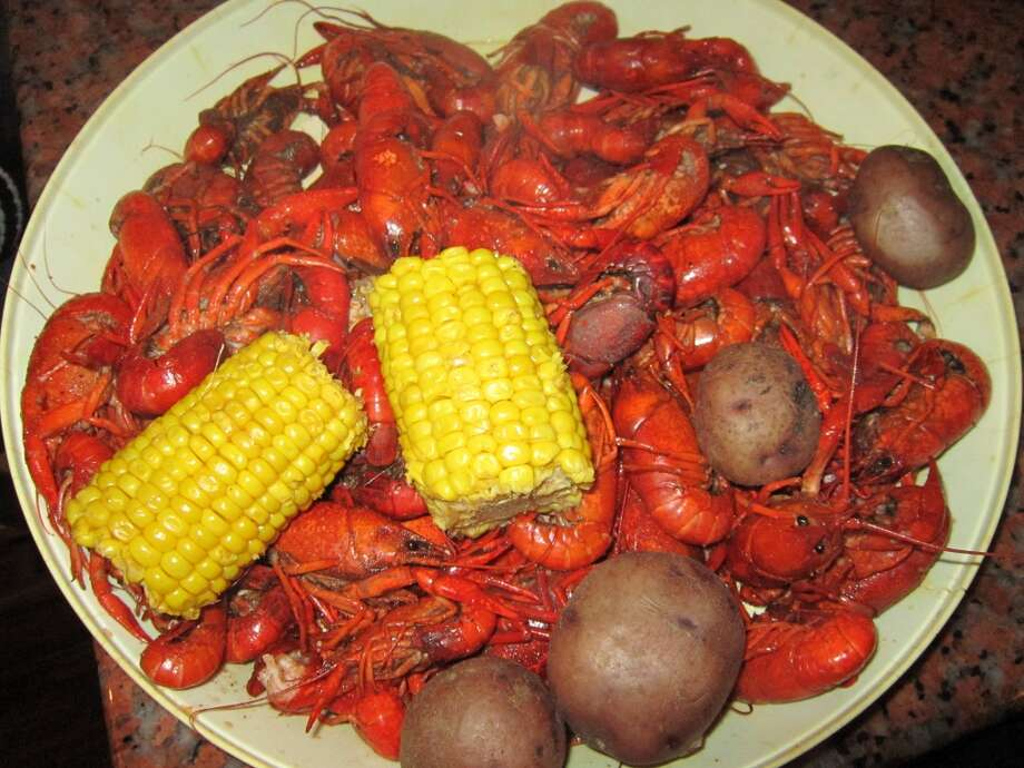 Plate full of spicy crawfish.