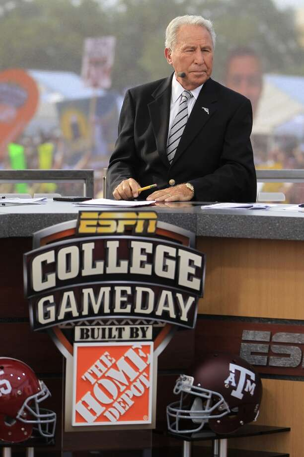 ESPN College Gameday host Lee Corso on the set in College Station. Photo: Karen Warren, Houston Chronicle