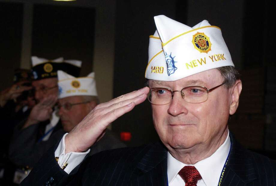 American Legion Kenneth Governor of North Greenbush renders a salute after being elected Department of New York commander during the American Legion?s 95th Department Convention in Niagara Falls.