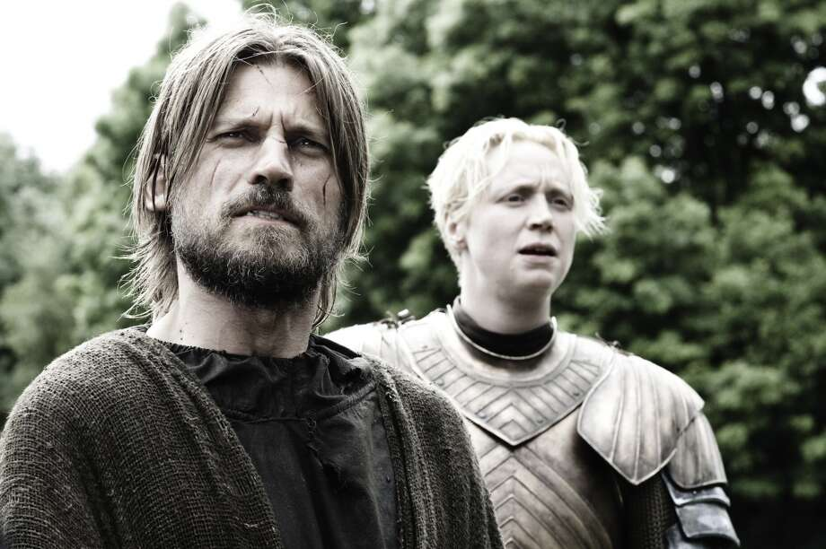 Nikolaj Coster-Waldau, left, as Jaime Lannister, and Gwendoline Christie as Brienne of Tarth, in Season 3. Photo: HELEN SLOAN, HBO