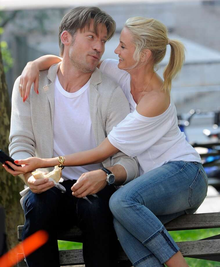 "Nikolaj Coster-Waldau traded sword and armor for a cardigan in Cameron Diaz' new movie, ""The Other Woman."" They're pictured filming in New York on June 24, 2013. Photo: Bobby Bank, WireImage"