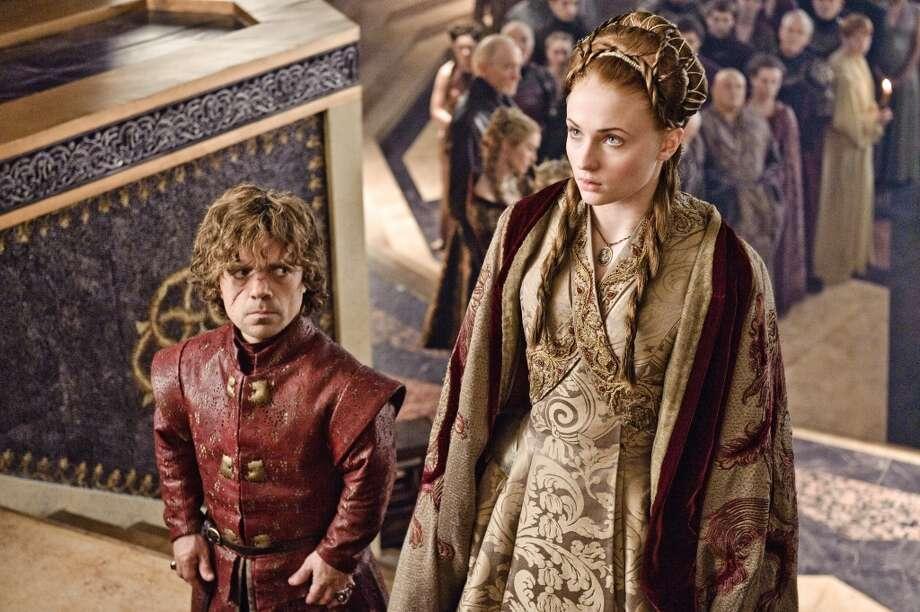 Peter Dinklage, as Tyrion Lannier, and Sophie Turner, as Sansa Stark, in Season 3. Photo: HBO