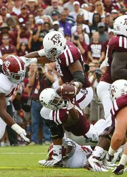 Texas A&M running back Ben Malena gets a touchdown against Alabama. Photo: Cody Duty, Houston Chronicle
