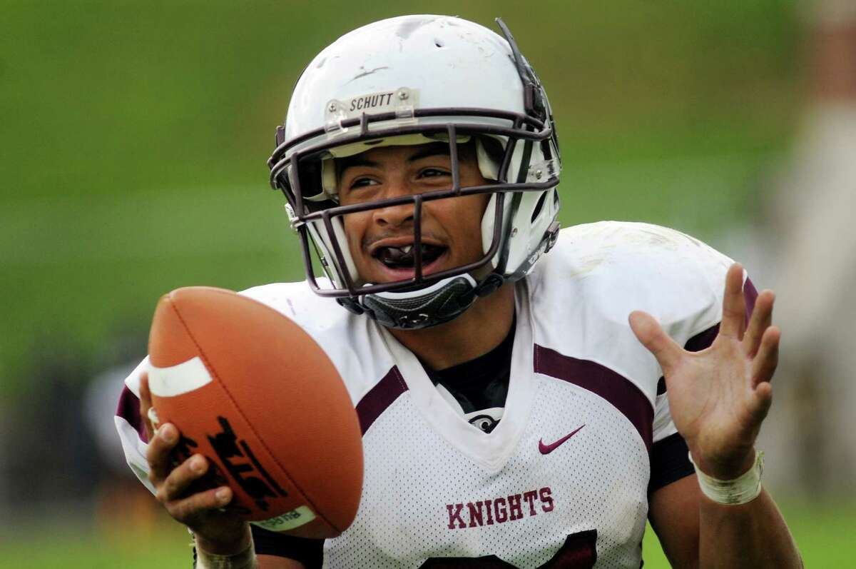 Lansingburgh's Anthony Walker celebrates a touchdown during their football game against Green Tech on Saturday, Sept. 14, 2013, at Bleecker Stadium in Albany, N.Y. (Cindy Schultz / Times Union)