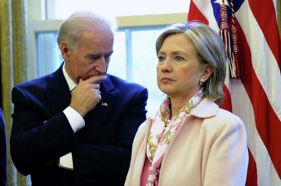 Vice President Joe Biden might want Democrats to keep him in mind as a presidential contender in 2016, but talk always seems to turn to former first lady Hillary Clinton's political plans. Photo: Associated Press File Photo