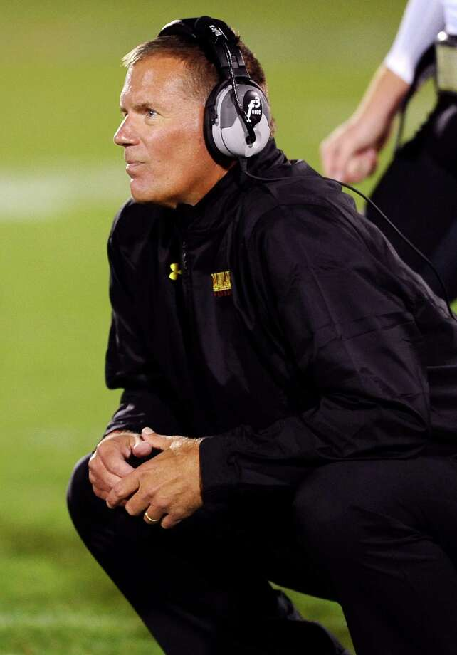 Maryland head coach Randy Edsall watches his team play against Connecticut during the first half of an NCAA college football game at Rentschler Field, Saturday, Sept. 14, 2013 in East Hartford, Conn. Photo: Jessica Hill, AP / Associated Press