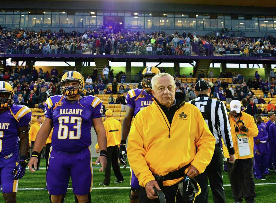 UAlbany head coach Bob Ford along the sidelines at the start of ftheir home opener against Rhode Island Saturday Sept. 14, 2013, in Albany, NY.   (John Carl D'Annibale / Times Union) Photo: John Carl D'Annibale / 00023832A