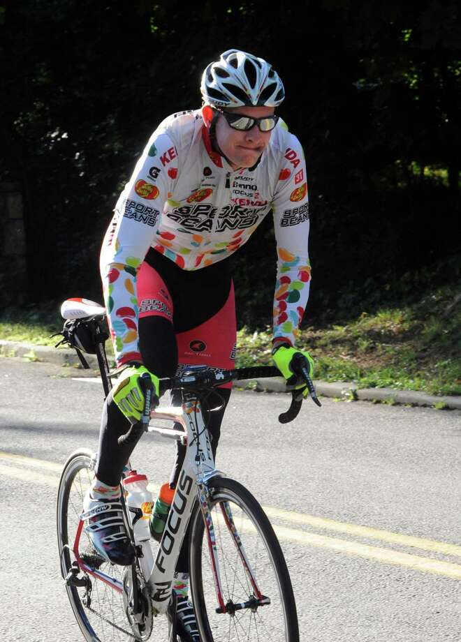 Ben Wolf, 20, of Old Lyme, won the race at the 29th annual HSS Tour de Greenwich, hosted by Threads &  Treads, at Greenwich High School, in Greenwich, in Conn., Sunday, Sept. 15, 2013. Photo: Helen Neafsey / Greenwich Time