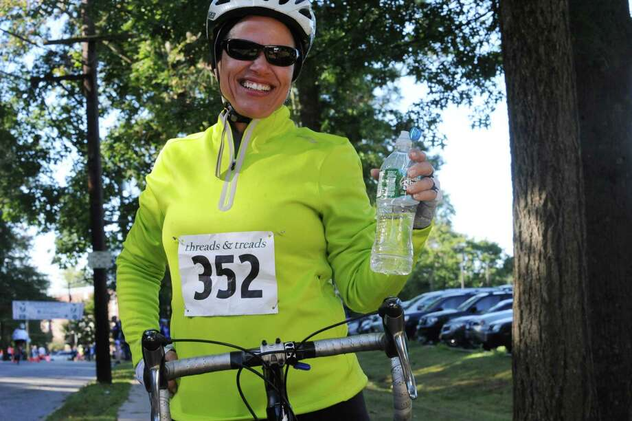 Jackie davis, of Stamford, smile at the 29th annual HSS Tour de Greenwich, hosted by Threads &  Treads, at Greenwich High School, in Greenwich, in Conn., Sunday, Sept. 15, 2013. Photo: Helen Neafsey / Greenwich Time