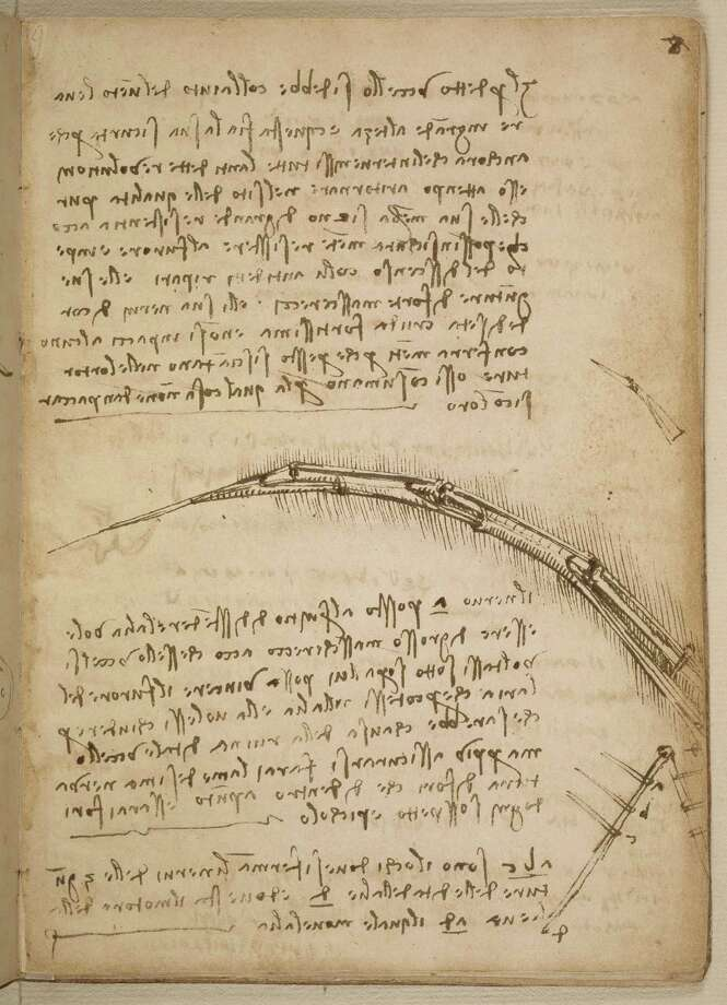"""This image provided by the Smithsonian Institution Libraries shows a page from the 1505 notebook that addresses the importance of light-weigh structures and illustrates the structure of a mechanical wing, Leonardo da Vinci�s early sketches of human flight some 400 years before the airplane�s invention. Da Vinci's early notes and sketches of human flight some 400 years before the airplane's invention are making a rare visit to the Smithsonian's National Air and Space Museum in Washington. Beginning Friday, the museum will display da Vinci's """"Codex on the Flight of Birds"""" through Oct. 22. The notebook dates to between 1505 and 1506 when the famous Renaissance artist also painted his """"Mona Lisa"""" masterpiece. Photo: AP"""